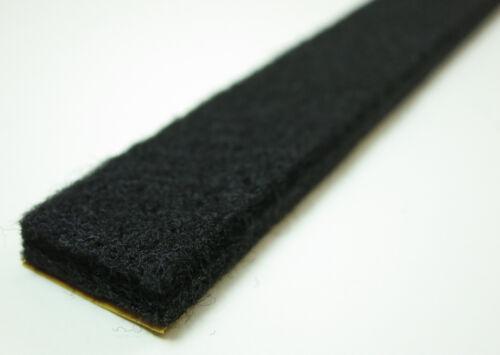 6m bandes de feutre 15mm large, 6mm épais - noir - Fort auto-adhésif