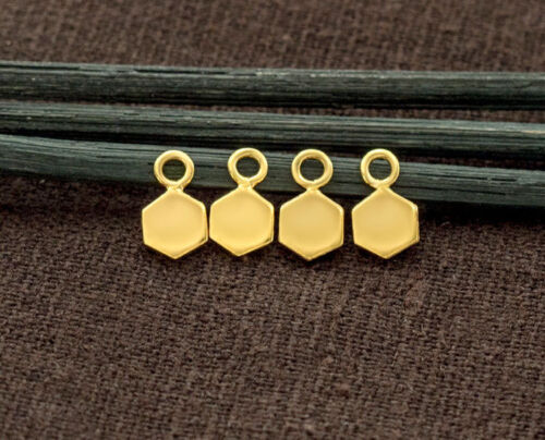 925 Sterling Silver 24k Gold Vermeil  4 Hexagon Charms 5 mm. tiny charms.