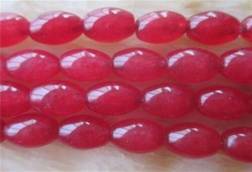 """8x12mm Red Ruby riz en forme de Carnéol Pierre Précieuse Jade Loose Beads 15/"""" # AY110"""