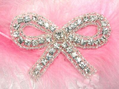 "ACT//XR179 Rhinestone Applique Silver Beaded Crystal 5/"" Very Elegant /& Simple~"