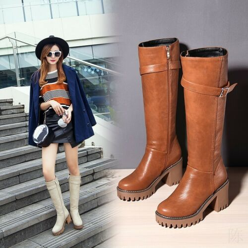 Womens Knight Riding Buckle Knee High Boots Side Zipper Block Heel Casual Shoes