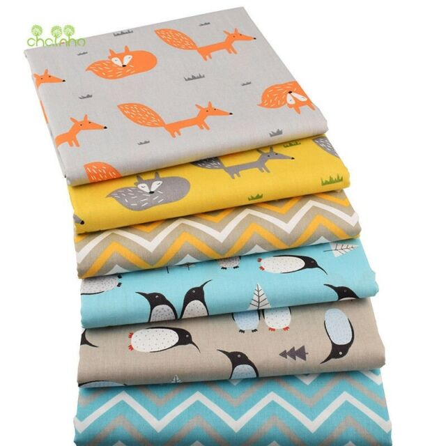 Chainho,6pcs/lot Fox&Penguin Series Material Quarters Fat Quilting Sewing cv1