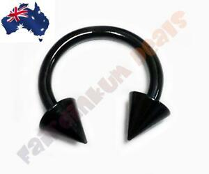 16G-316L-Surgical-Steel-Black-Anodised-Horse-Shoe-Barbell-with-Cone-Ends
