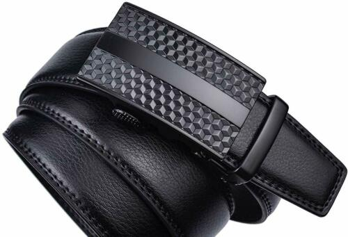 Mens Automatic Buckle Ratchet Belt Genuine Leather 35mm Wide Wistband Casual US