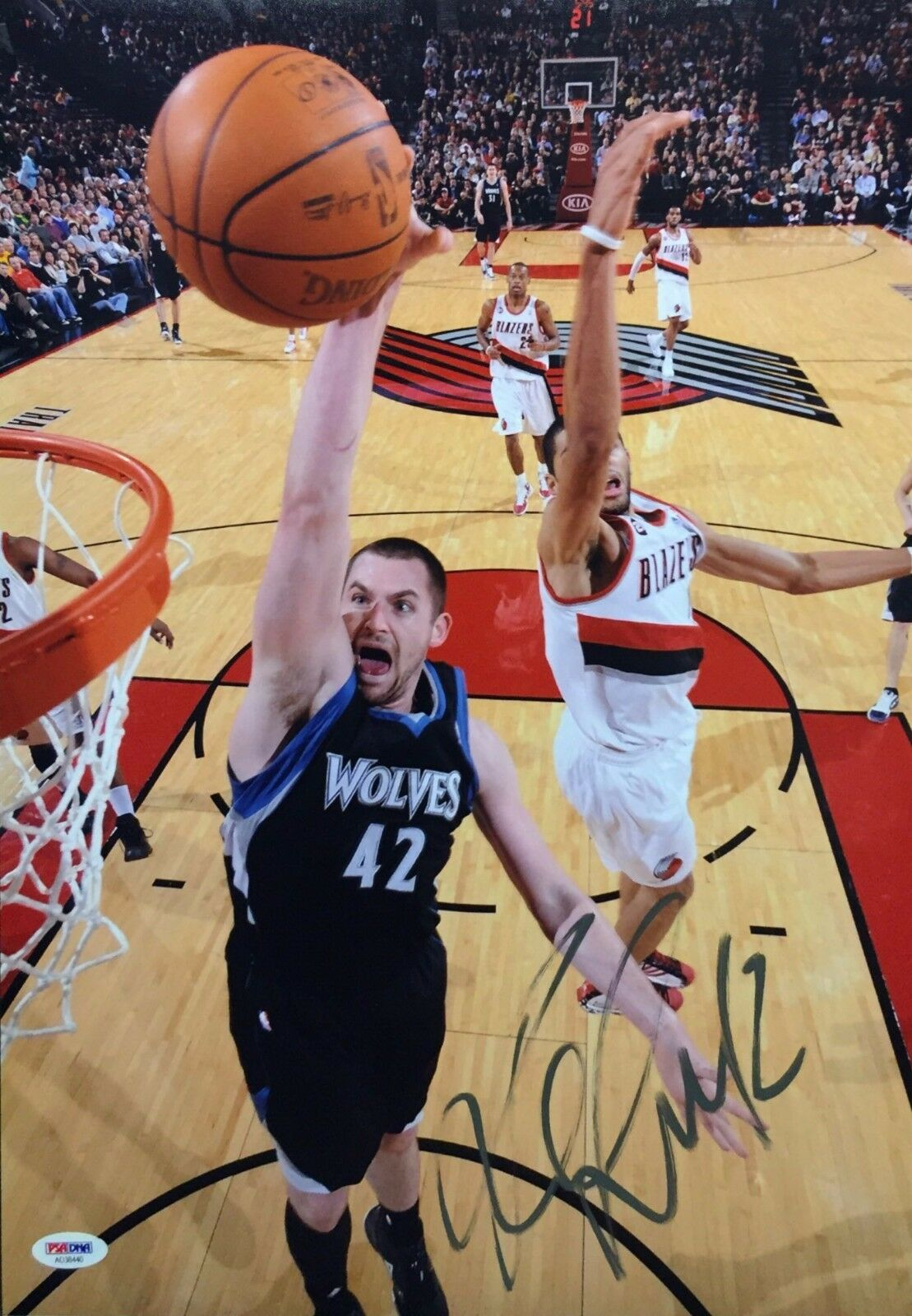 Kevin Love Signed Minnesota Timberwolves Basketball 12x18 Photo PSA AD38440