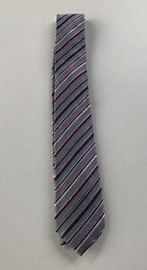 Paul-Smith-Tie-MAINLINE-Silver-Blue-Multi-Stripe-6cm-Blade-tie-Made-in-Italy