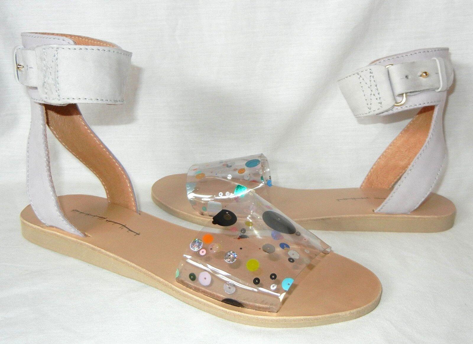 Minimarket donna's donna's donna's Seth Leather and Glitter Anklestrap Sandal Retail  265 sz 10 24cc6c
