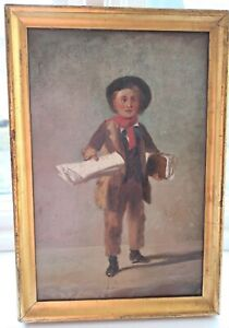 1840 FOLK ART OIL PAINTING NEWS PAPER BOY COUNTRY GILT PICTURE FRAME PRIMITIVE