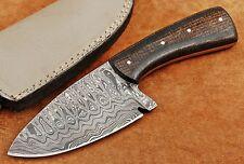Custom Handmade Ladder Damascus Steel Drop Point Hunting Knife DE600