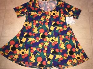 LULAROE-NWT-Women-039-s-Perfect-T-Shirt-Solid-Stretch-Geometric-Top-USA-S