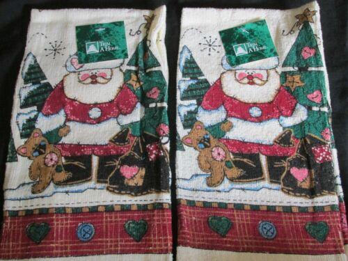 Brand New Lot of 2 Matching Trim A Home Christmas Hand//Dish Towels Santa w//Tree