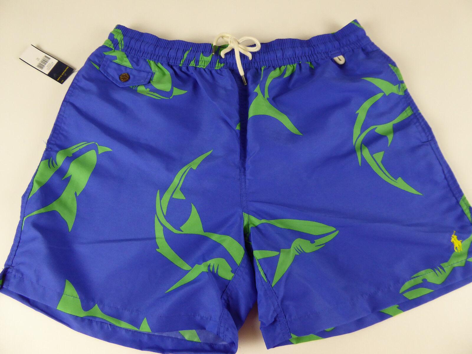 Polo Ralph Lauren Shark Swimwear Traveler Trunks Shorts  Embroidered Pony NWT