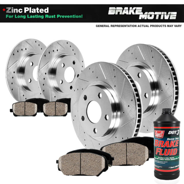 Front And Rear Drilled Slotted Brake Rotors And Ceramic Pads For Saab AWD 4WD