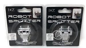 Robot-Auricular-Distribuidor-3-5mm-Jack-para-Audio-Compartir-Cromo-Paquete-Doble