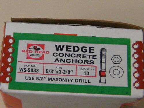"5//8/""x3-3//8/"" Red Head Wedge Concrete Anchors WS-5833"