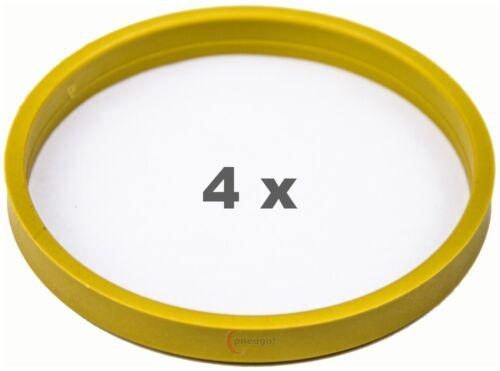 4 pièces Bagues de centrage 72.0 à 66.1 jaune//yellow