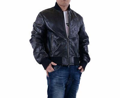 DIESEL BLACK GOLD LUAS Mens Bomber Jacket Genuine Leather ...