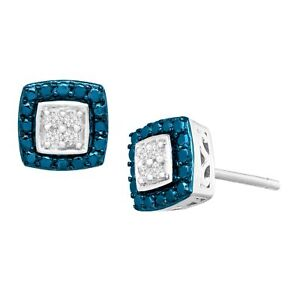 1-10-ct-Blue-amp-White-Diamond-Stud-Earrings-in-Sterling-Silver-Plated-Brass