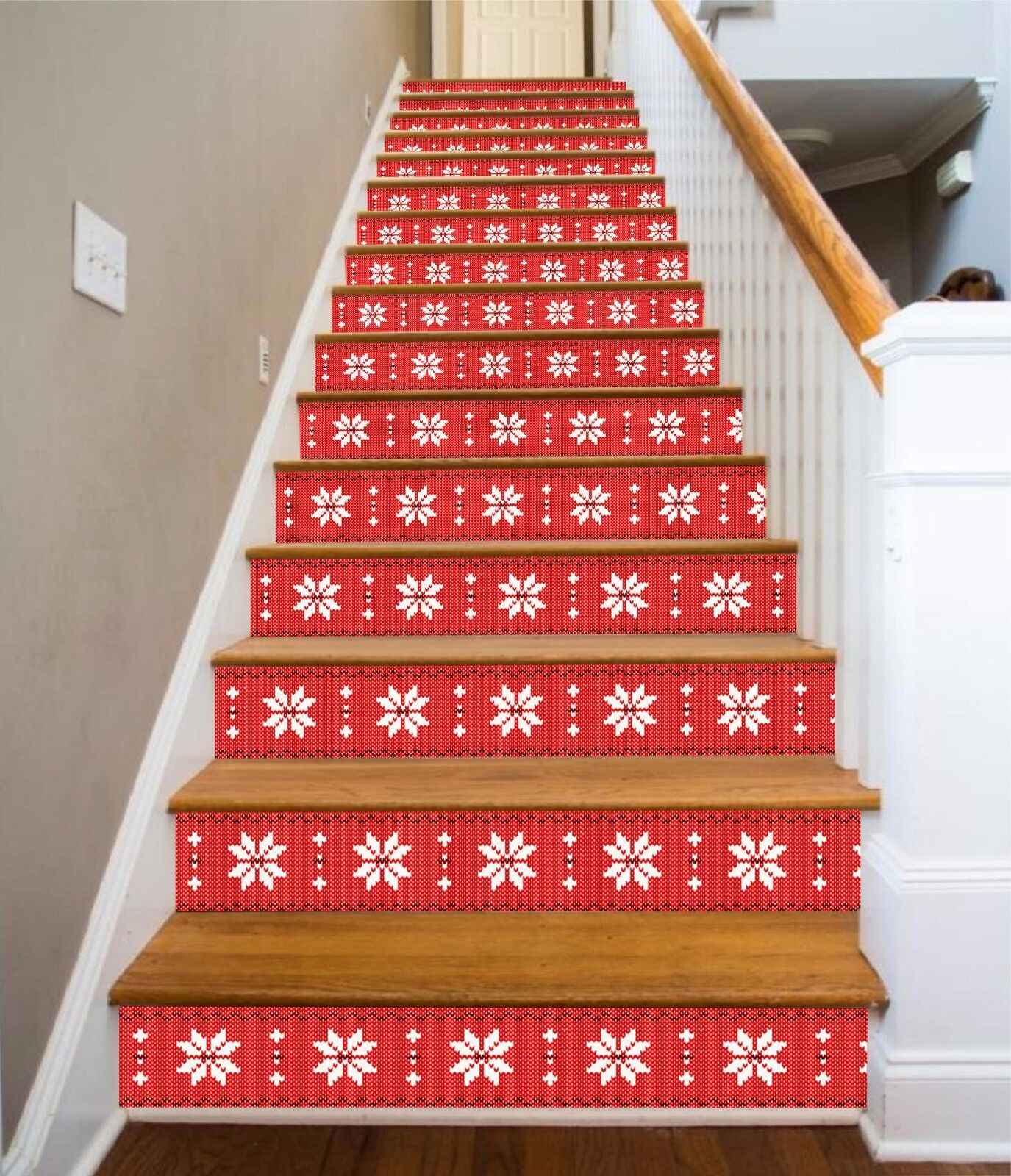 3D rosso Pattern 018 Stair Risers Decoration Photo Mural Vinyl Decal Wallpaper AU