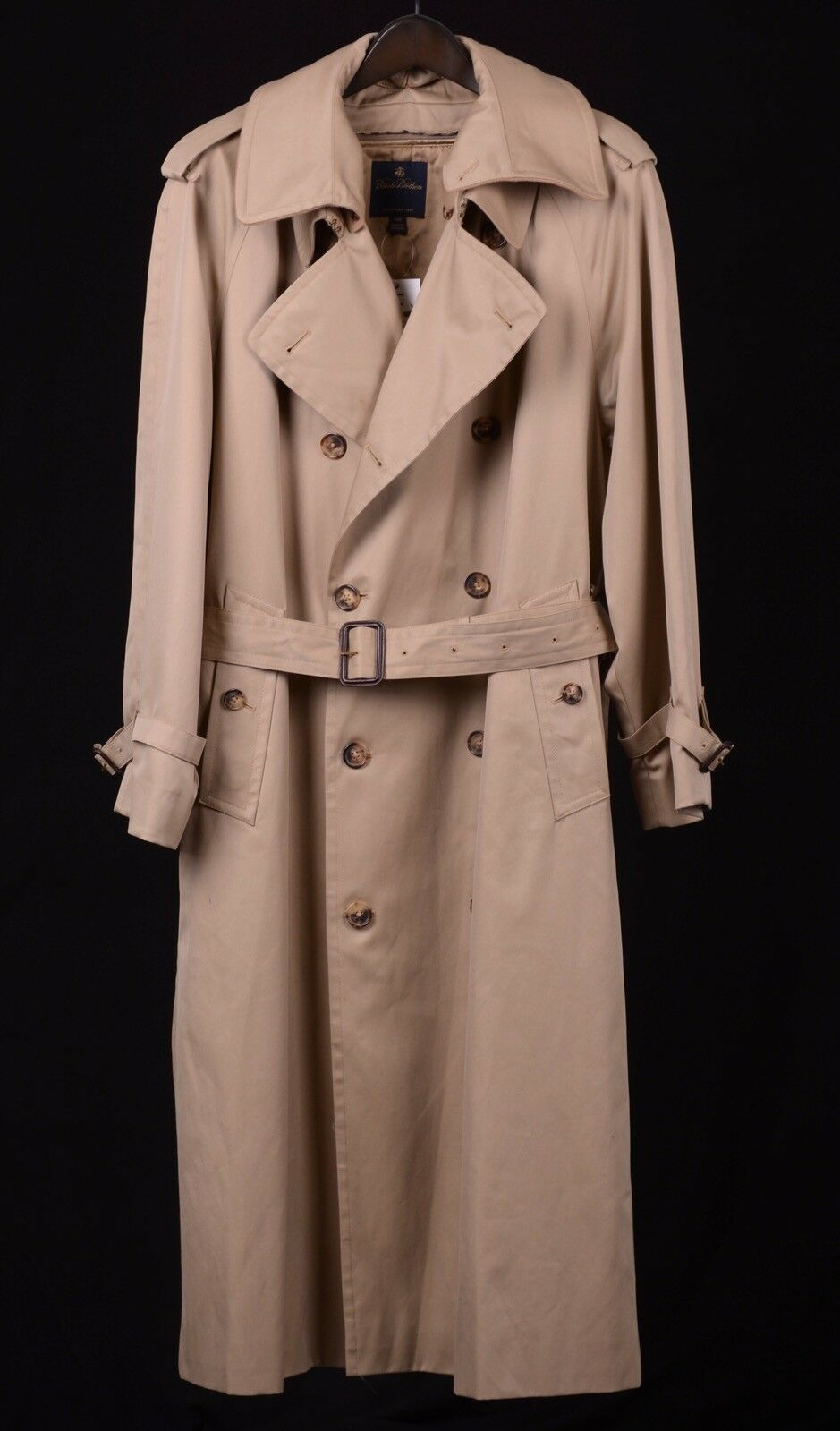 Brooks Brothers Khaki Tan Cotton Twill Cashmere Wool Lined Trench Rain Coat 44 R