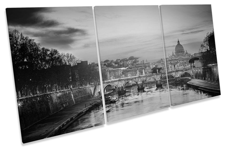 St Peters Cathedral Rome Sunset  B&W TREBLE CANVAS WALL ART Print Picture