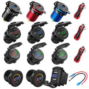 12V-24V-Dual-USB-Charger-LED-Digital-Display-Voltage-Amp-Gauge-Ammeter-Voltmeter