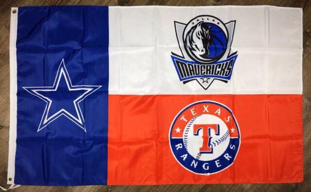 Dallas Mavericks Cowboys Texas Rangers Flag 3x5 ft NBA NFL MLB Banner Man-Cave