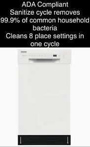 "FREE SHIPPING New Frigidaire White 18"" Dishwasher (Stainless Steel Tub) 52 DBAs"