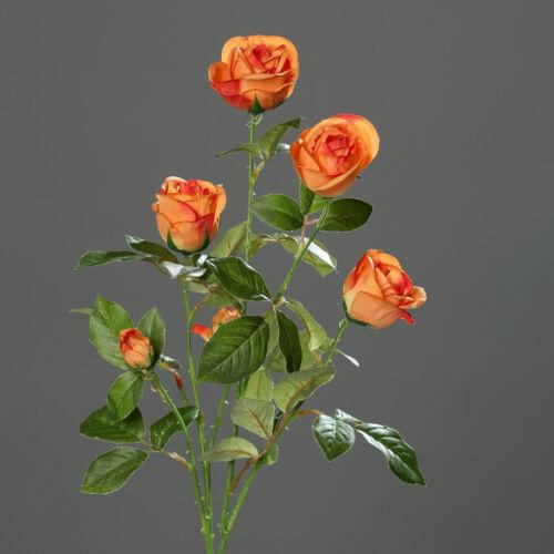 Rosenzweig 72cm orange DP Kunstblumen künstliche Blumen Rose Seidenblumen