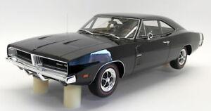 Otto-resina-de-escala-1-12-G032-1969-Dodge-Cargador-R-T-Negro-Rayas-Blanco