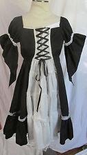 Gothic Lolita Black White Maid Dress Elegant EGL Goth Angel Sleeves M NEW NWT
