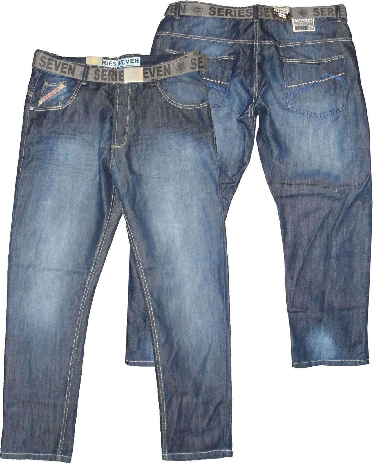 MENS SEVEN SERIES STRAIGHT LEG DARK STONE BELTED JEANS,WAIST 40-56