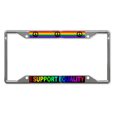 I Support Equality Peace Sign Gay Lgbt Metal License Plate