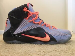 best loved 28216 7cc23 Image is loading Nike-Lebron-XII-12-Easter-Aluminum-Sunset-684593-