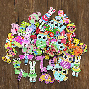 BL-50Pcs-Mixed-Animal-2-Holes-Wooden-Buttons-Sewing-Craft-Scrapbooking-DIY-Amaz