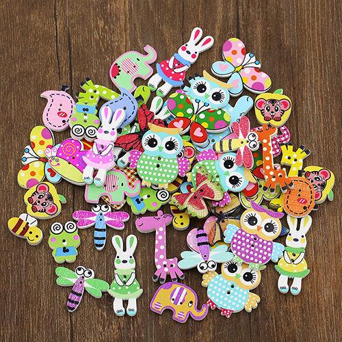 HD_ 50Pcs Mixed Animal 2 Holes Wooden Buttons Sewing Craft Scrapbooking DIY Amaz