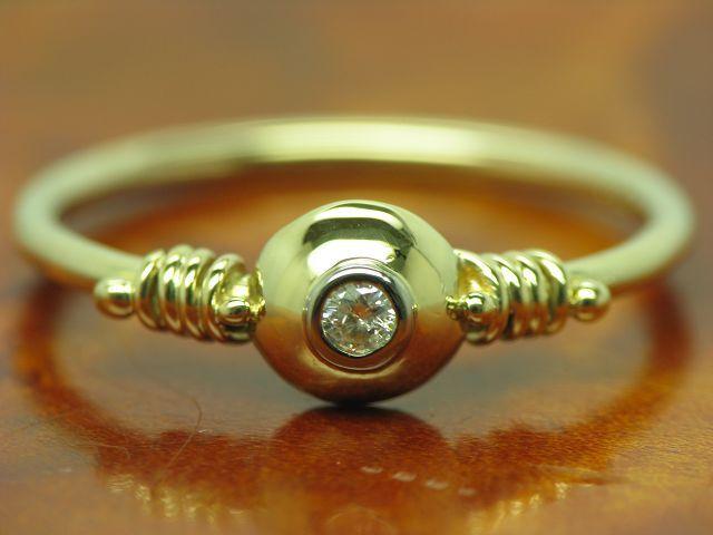 14kt 585 BICOLOR gold RING MIT BRILLANT SOLITÄR BESATZ   DIAMANT   2,0g   RG 55