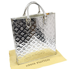 AUTHENTIC LOUIS VUITTON SAC PLAT HAND BAG SILVER MONOGRAM MIRROR M40269 V14624
