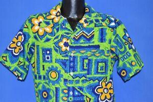 Vintage 60s JC Penney Towncraft Aloha hell blau grün Hawaii Hemd Medium M