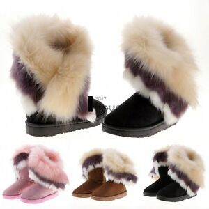 Womens-Ladies-Flat-Faux-Fur-Fluffy-Ankle-Boots-Winter-Low-Heel-Warm-Comfy-Size