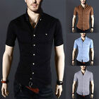 Tops Fashion Mens Luxury Casual Stylish Slim Fit Short Sleeve Casual Dress Shirt