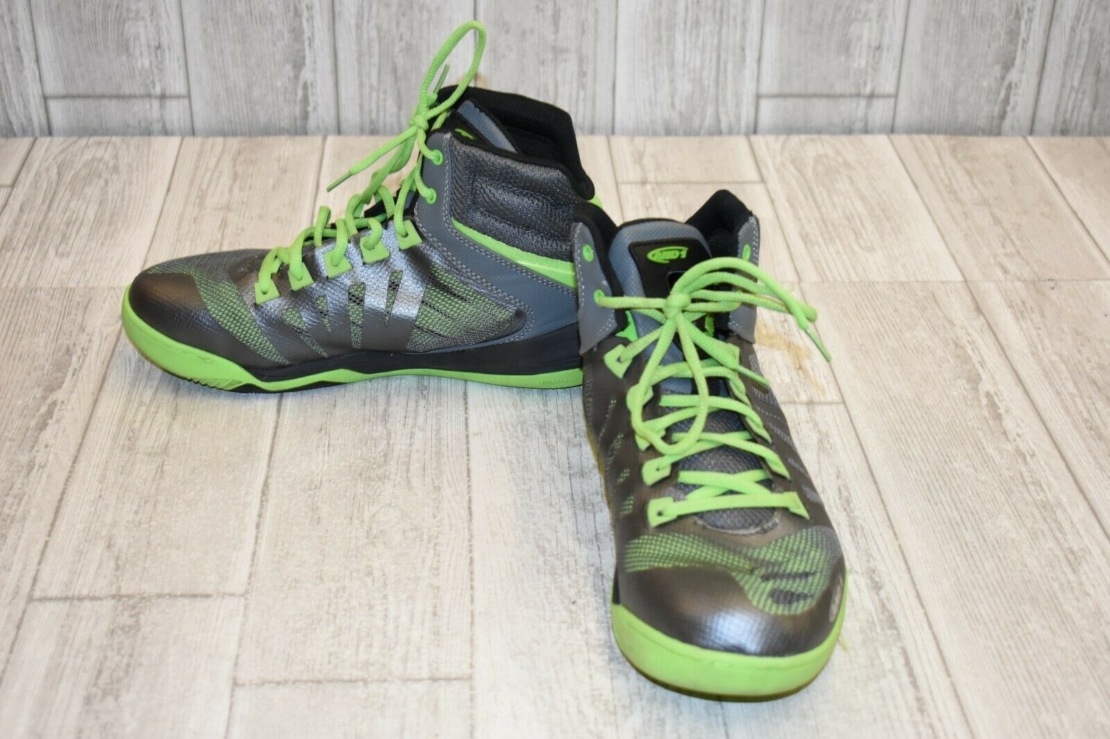 AND1 Overdrive Basketball shoes, Men's Size 9.5, Pewter Lime