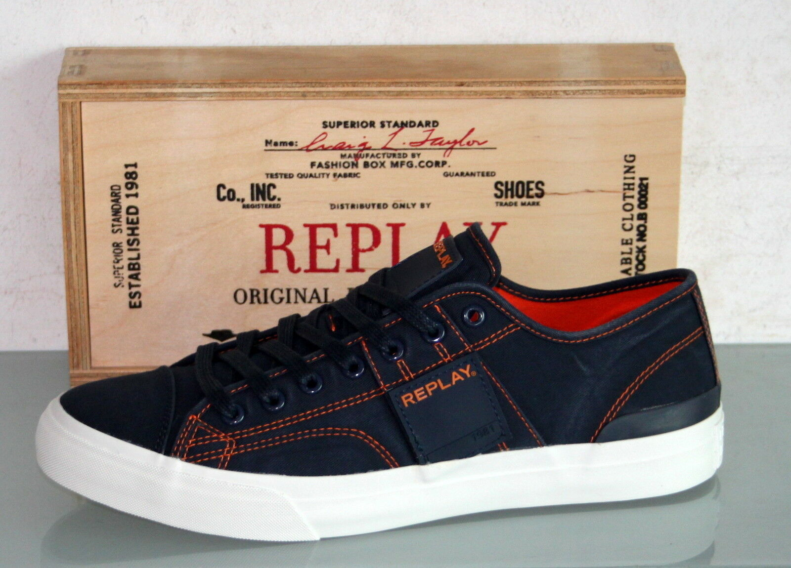 REPLAY Canvas-Turnschuhe Schnürer - MAPLE Navy -  Neu & Original