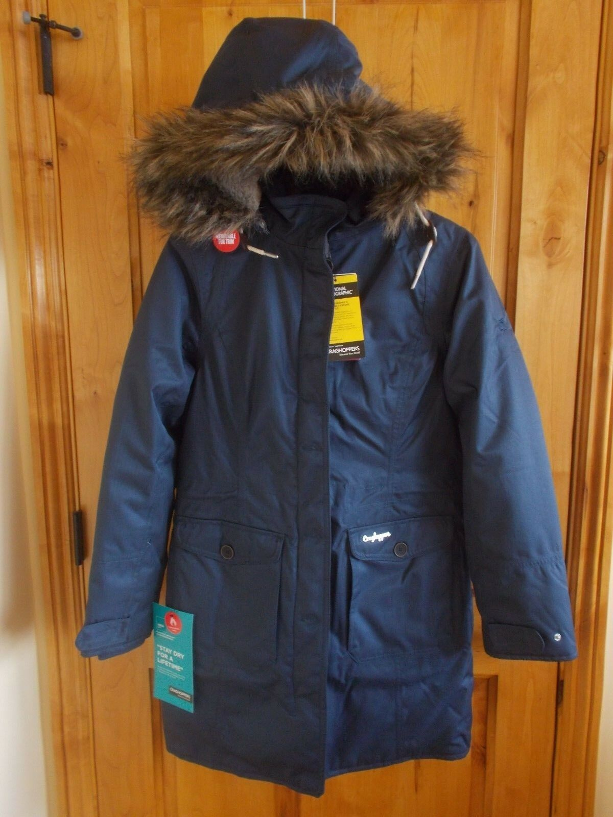 CRAGHOPPERS SIZE S 6 NAT GEO CAYLEY PARKA SOFT NAVY AQUADRY FAUX FUR TRIM HOOD