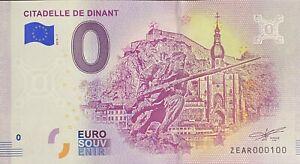 BILLET-0-EURO-CITADELLE-DE-DINANT-BELGIQUE-2018-NUMERO-100