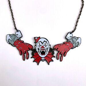 Kreepsville 666 Gothic Horror Punk Kreepy Clown Blood Splatter Necklace Choker