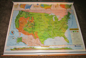 Details about Map United States Pull Down Political & Physical Maps Nystrom  Elementary School