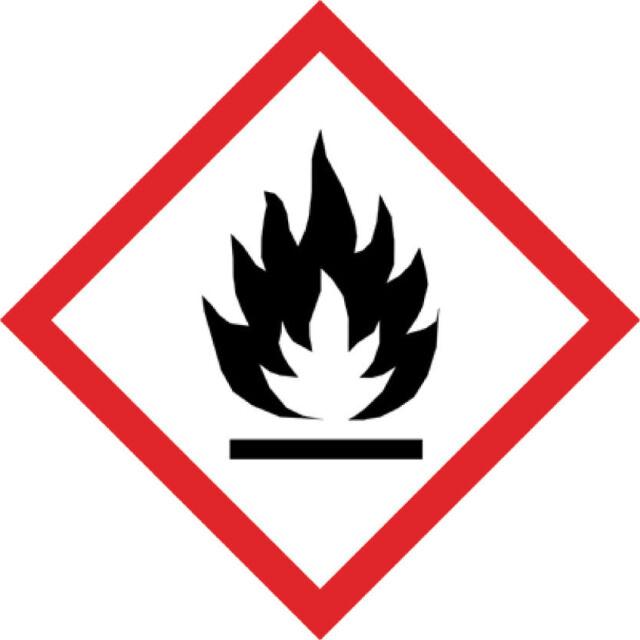 1x GHS Aufkleber Entzündlich 10x10cm Feuergefährlich PE-Plastik