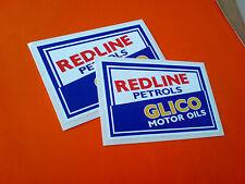 Redline gasolinas Glico aceites de motor Retro Vintage Stickers Calcomanías 2 Off 100mm