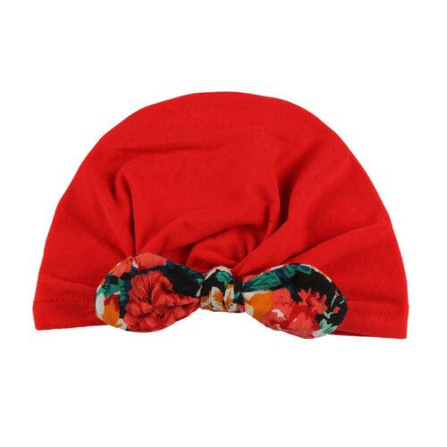 Newborn Infant Baby Boys Girls Beanie Caps Knotted Soft Cotton Turban Hat G